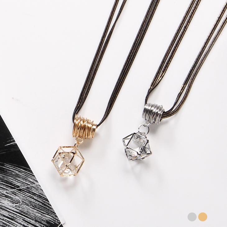 0129新品 幾何鏤空水鑽X雙圈金屬光感項鍊.2色
