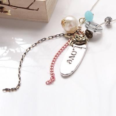 1117新品 【特價款】 造型鏈條mix小鳥鈕釦珠飾項鍊