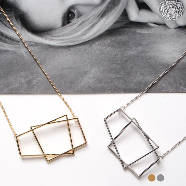 1ob 羽絨218新品 金屬不規則鏤空幾何墬飾項鍊.2色