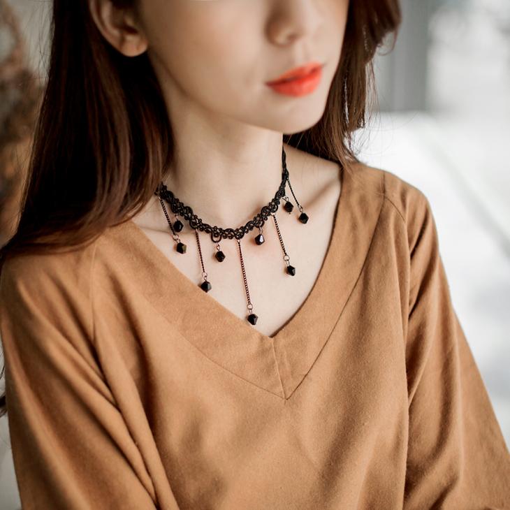 112ob店面4新品 【特價款】 圖騰編織X垂墜珠飾頸鍊