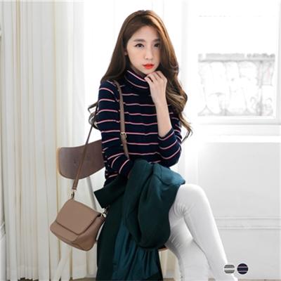 0120新品 彈性針織質感條紋配色立領長版上衣.2色