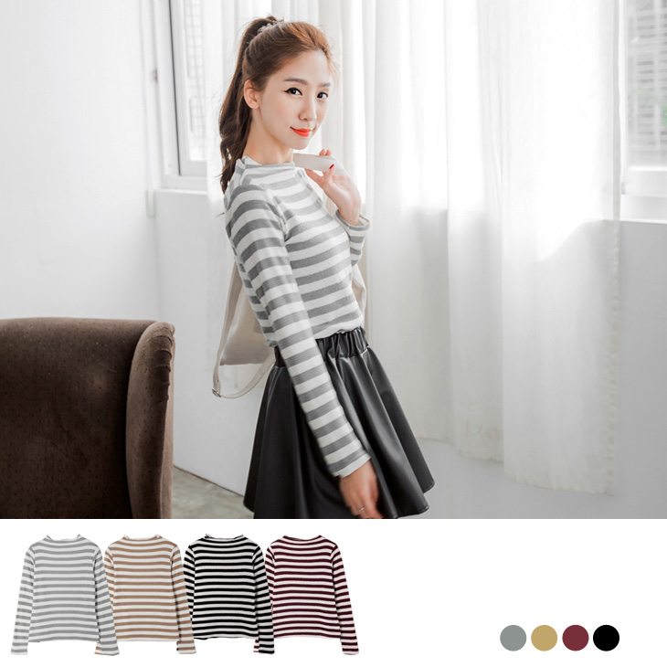 0222新品 彈性針織質感立領條紋上衣.4色
