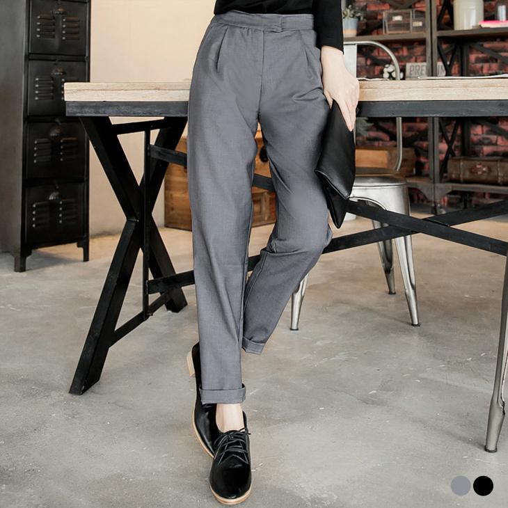 012ob嚴選客服電話7新品 質感打摺窄管西裝褲.2色