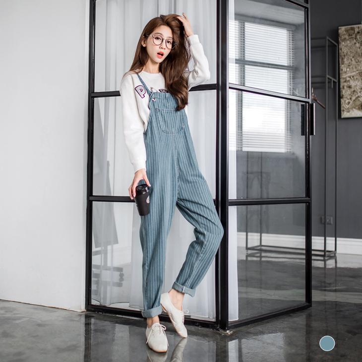 0301新品 牛仔清新直條紋設計寬鬆吊帶褲