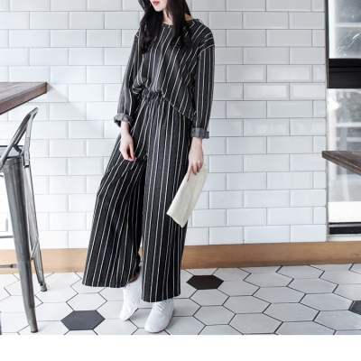 1207新品 舒適質感黑白直條紋鬆緊寬褲