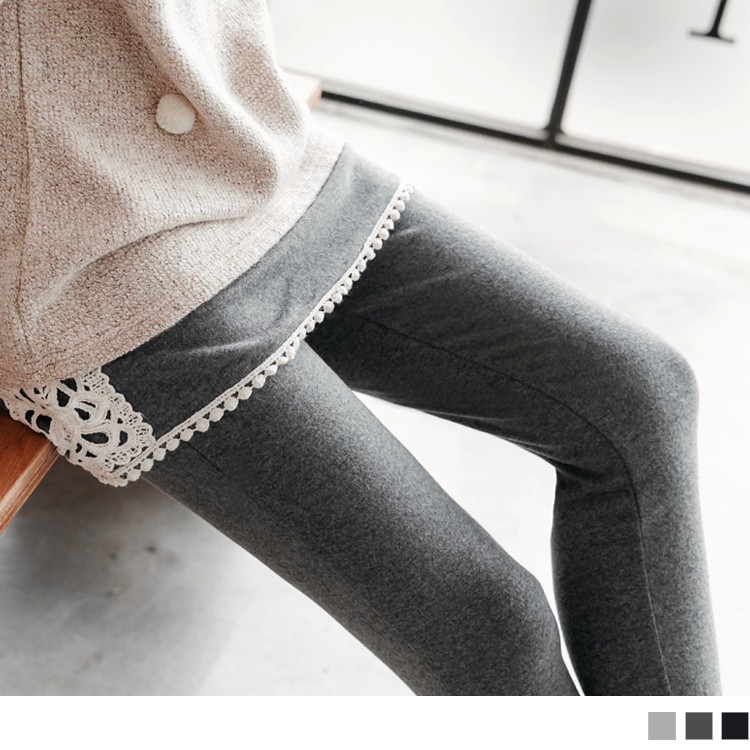 0425ob design 店面新品 布蕾絲拼接假兩件式內搭褲.3色
