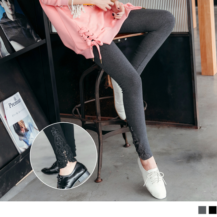 0226新品 彈性素雅蕾絲點綴內搭褲.2色