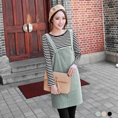 0509新品 素色燈芯絨吊帶裙.3色