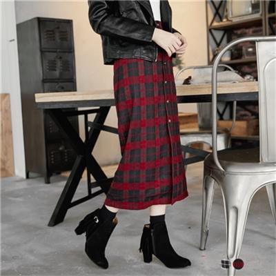 蘇格蘭格紋海軍鈕釦高腰開衩長裙.2色