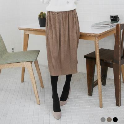 素色麂皮百褶開岔中長裙.3色