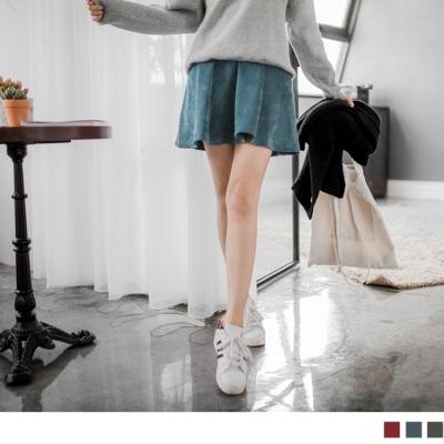 0222新品 燈心絨素色後鈕釦高腰傘擺圓裙.3色