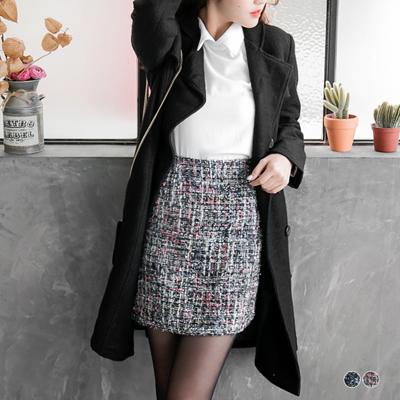 0216新品 混金蔥亮片軟呢包裙.2色