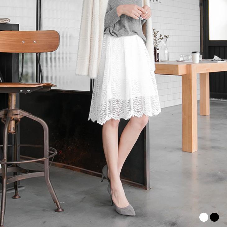 0310新品 素色鏤空蕾絲雕花及膝裙.2色