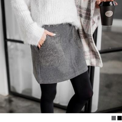 0122新品 附皮帶毛呢質感針織口袋A字短裙.2色