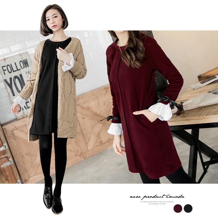 0222新品 素色毛料荷葉袖口蝴蝶結綁帶洋裝.2色