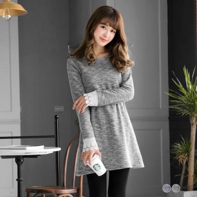 混色毛料雕花蕾絲袖口圓領洋裝.2色