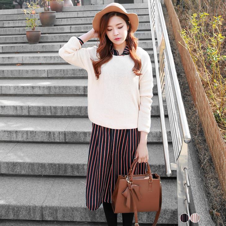 0323新品 雪紡質感直橫條紋開襟襯衫洋裝.2色