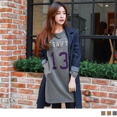 0128新品 T.SWIFT英文字母燙印長版上衣/洋裝.3色