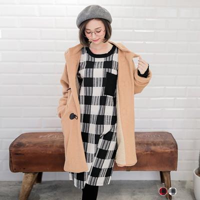 0224新品 經典格紋X針織長袖洋裝.2色