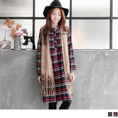 法蘭絨格紋立領摺線開襟落肩袖洋裝.2色