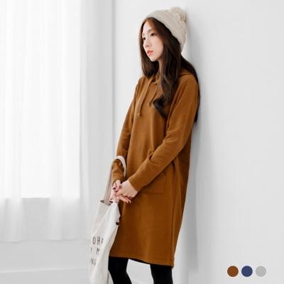 0119新品 純色內磨毛抽繩連帽長版上衣/洋裝.3色