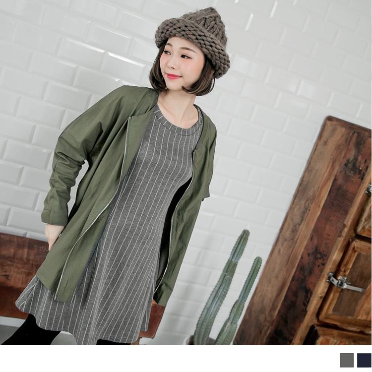 0224新品 條紋傘襬反褶袖洋裝.2色