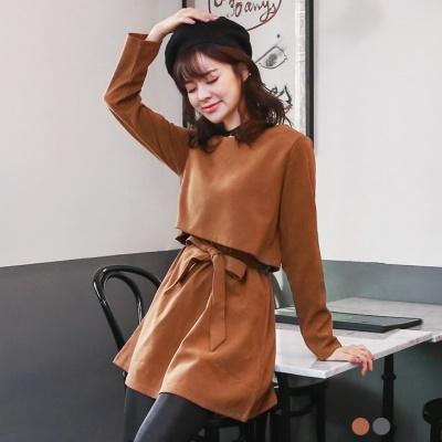 0128新品 麂皮短上衣設計圓領綁帶洋裝.2色