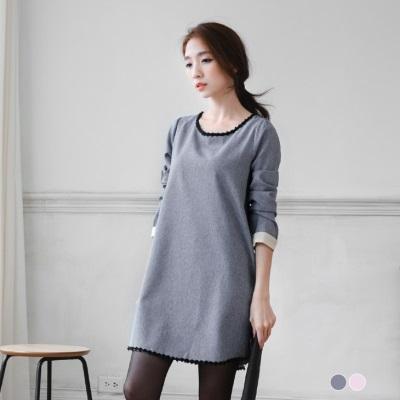 0304新品 袖口反摺撞色設計小花滾邊混色織紋洋裝.2色
