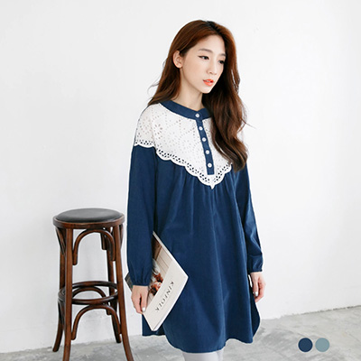 0308新品 仿絨素色x蕾絲圓領開襟長版上衣/洋裝.2色