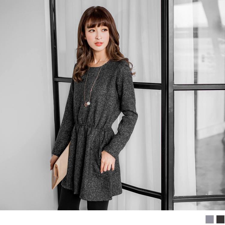 典雅混色ob服飾毛料腰圍鬆緊圓領洋裝.2色