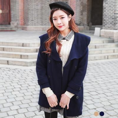 仿毛呢弧型大翻領雙排釦長版外套.2色