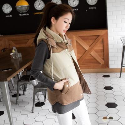 0129新品舖棉x毛呢拼色可拆式連帽背心.2色