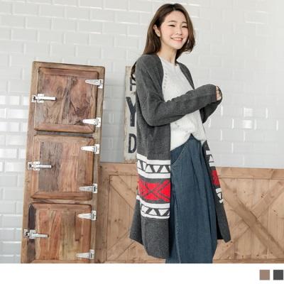 針織波希米亞圖騰落肩長版罩衫/外套.2色