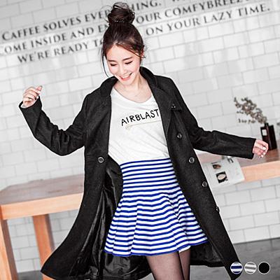 0226新品 條紋/素色針織圓襬短裙.3色