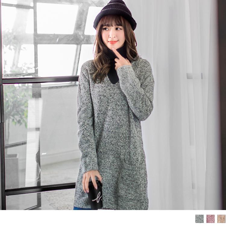 0126新品 雪花針織V領長版連帽上衣.3色