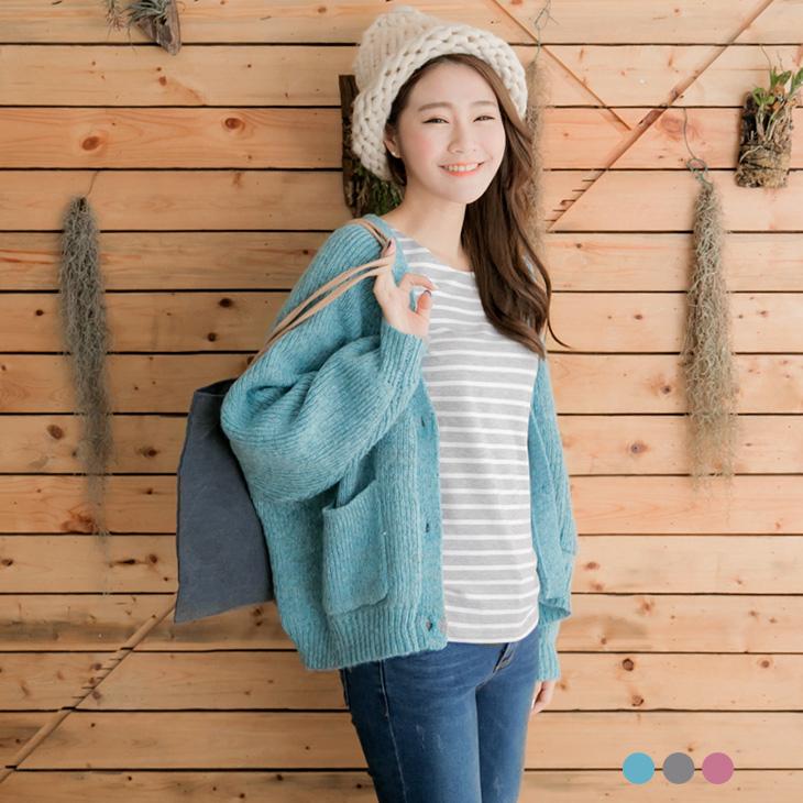 0125新品ob嚴選旗艦店 大V領混色插肩袖針織外套.3色