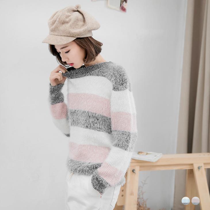 針織寬條紋毛海圓領上衣.2色