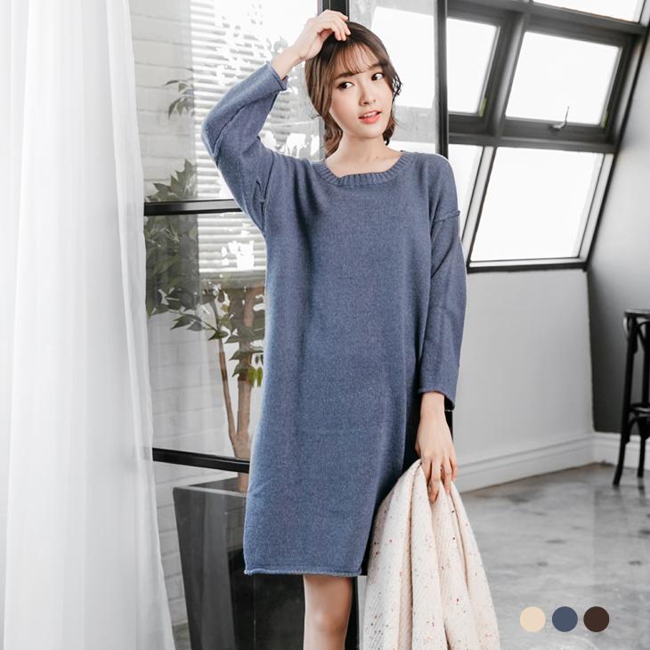 0ob 嚴 選 心得222新品 仿羊絨素面落肩造型針織洋裝.3色