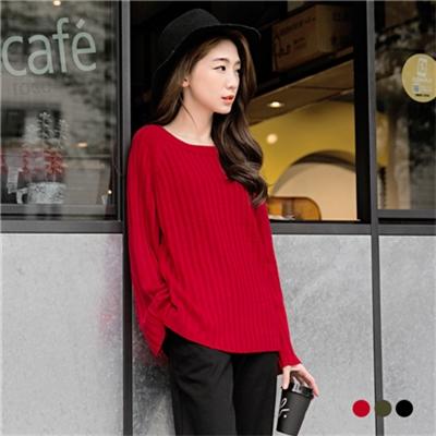0225新品 嚴選韓風圓領寬袖造型針織上衣.3色