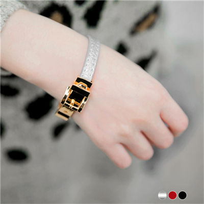 0330新品 【特價款】 皮革金屬釦式手環.3色