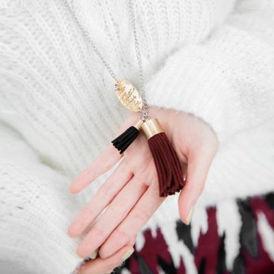 【奢華飾品♥2件68折】皮革配色層次流蘇墬飾項鍊