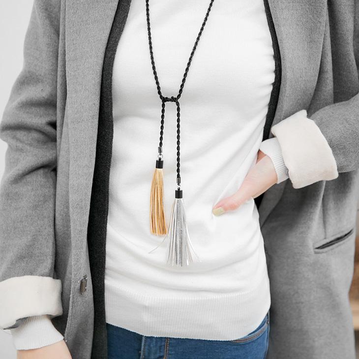 1223新品 【特價款】 金屬色皮革流蘇雙墬飾項嚴選服飾鍊