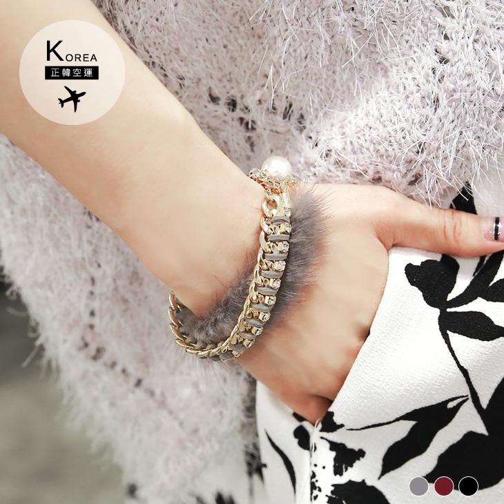 1209新品 【特價款】金屬皮革編織毛毛雙圈手鍊.3色