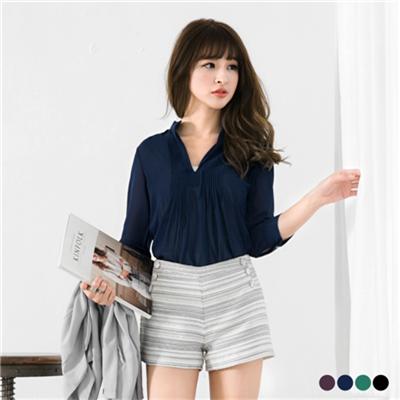 0506新品 開襟V領打褶線條感雪紡長版襯衫‧4色