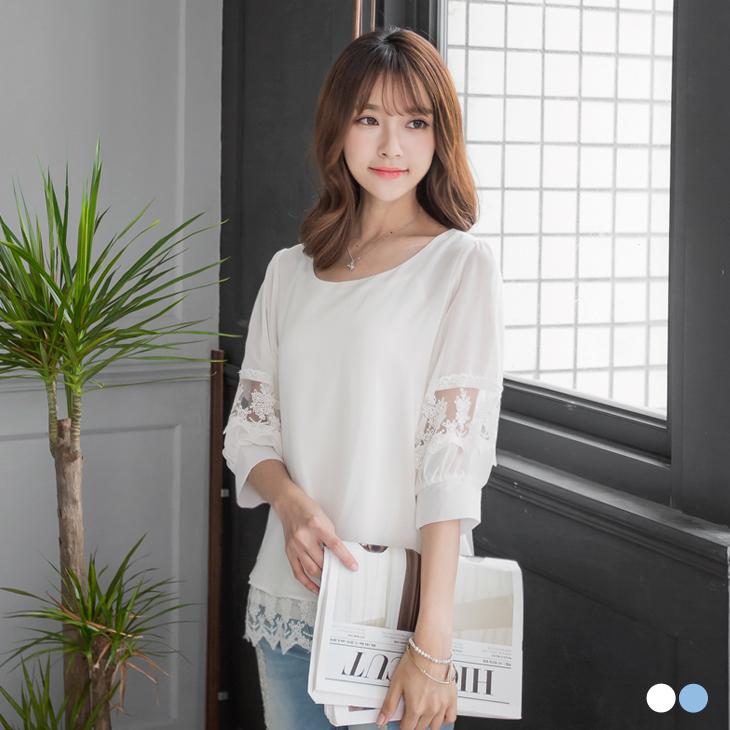 0418新品 動人美型~假兩件式雪紡X裸膚蕾絲澎澎袖上衣.2色