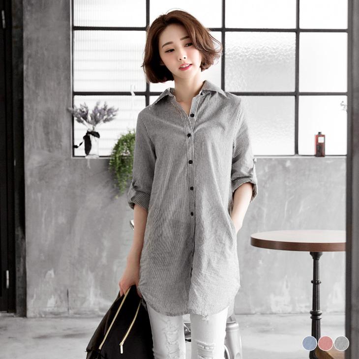 0421新品 簡約ob退貨復古感直條紋長版襯衫.3色