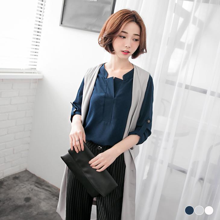 素色簡約質感立領開襟襯衫上衣.3色