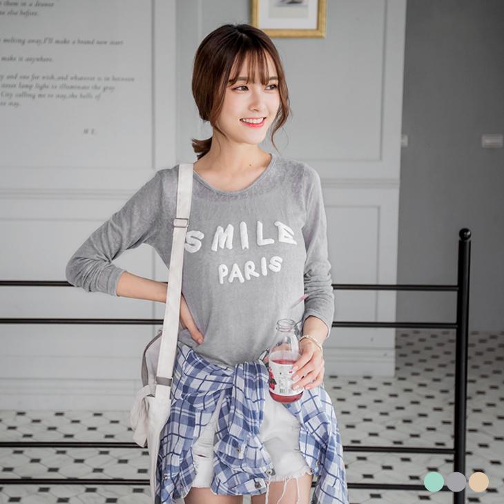 純色微透膚織紋mix立體燙印上衣.3色