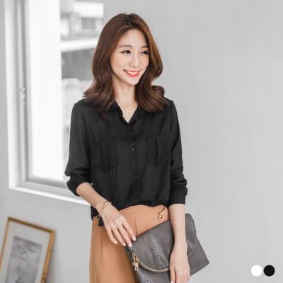 0406新品 雪紡領口金蔥感珠珠雙口袋襯衫上衣.2色