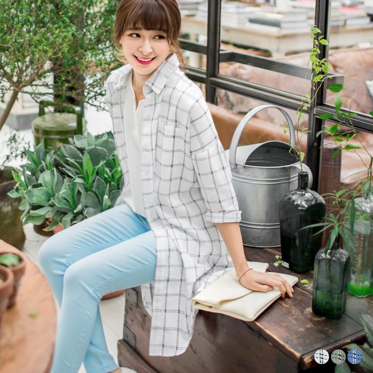 0330新品 透氣面料虛線格紋長版襯衫/外套.3色